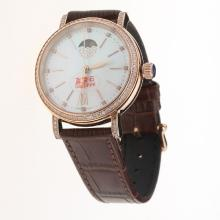 IWC Portofino Moonphase Automatic Rose Gold Case Diamond Bezel with MOP Dial-Brown Leather Strap