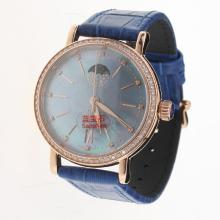 IWC Portofino Moonphase Automatic Rose Gold Case Diamond Bezel with Blue MOP Dial-Blue Leather Strap