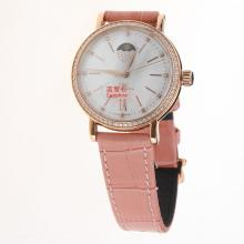 IWC Portofino Moonphase Automatic Rose Gold Case Diamond Bezel with MOP Dial-Pink Leather Strap