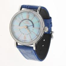 IWC Portofino GMT Automatic Diamond Bezel with Blue MOP Dial-Blue Leather Strap