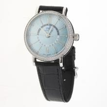 IWC Portofino GMT Automatic Diamond Bezel with Blue MOP Dial-Black Leather Strap