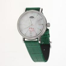 IWC Portofino Moonphase Automatic Diamond Bezel with MOP Dial-Green Leather Strap