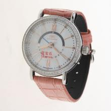 IWC Portofino GMT Automatic Diamond Bezel with MOP Dial-Pink Leather Strap
