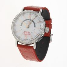IWC Portofino GMT Automatic Diamond Bezel with MOP Dial-Red Leather Strap