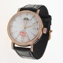 IWC Portofino Moonphase Automatic Rose Gold Case Diamond Bezel with MOP Dial-Black Leather Strap