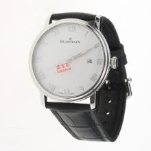 Blancpain Villeret Roman Markers with White Dial-Leather Strap