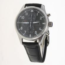 IWC Pilot Chronograph Swiss Valjoux 7750 Movement with Black Dial-Leather Strap-5
