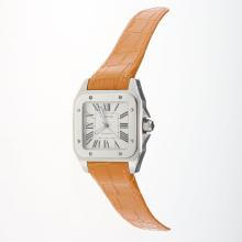Cartier Santos 100 Automatic with White Dial-Orange Leather Strap
