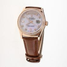 Rolex Day-Date 3156 Automatic Movement Rose Gold Case Diamond Markers & Bezel with Pink MOP Dial-Leather Strap