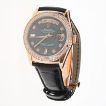 Rolex Day-Date 3156 Automatic Movement Rose Gold Case Diamond Markers & Bezel with Black MOP Dial-Leather Strap