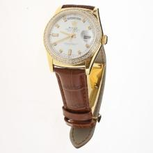 Rolex Day-Date 3156 Automatic Movement Gold Case Diamond Markers & Bezel with Silver Dial-Leather Strap