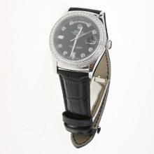 Rolex Day-Date 3156 Automatic Movement Diamond Markers & Bezel with Black Dial-Leather Strap