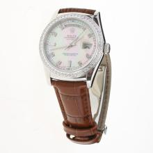 Rolex Day-Date 3156 Automatic Movement Diamond Markers & Bezel with Pink MOP Dial-Leather Strap