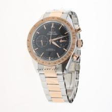 Omega Speedmaster Chronograph Swiss Valjoux 7750 Movement Two Tone with Black Dial