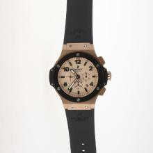 Hublot Big Bang Automatic Rose Gold Case Ceramic Bezel with Champagne Dial-Rubber Strap