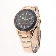 Rolex Yachtmaster Automatic Full Rose Gold Ceramic Bezel with Black Dial