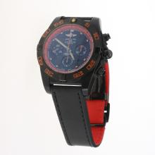 Breitling Chronomat Evolution Chronograph Swiss Valjoux 7750 Movement PVD Case with Black Dial-Leather Strap