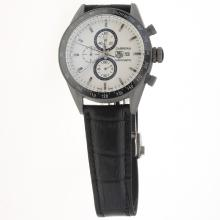 Tag Heuer Carrera Working Chronograph Titanium Case Ceramic Bezel with White Dial-Leather Strap