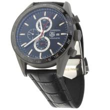 Tag Heuer Carrera Working Chronograph Titanium Case Ceramic Bezel with Black Dial-Leather Strap