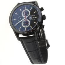 Tag Heuer Carrera Working Chronograph PVD Case Ceramic Bezel with Black Dial-Leather Strap-1