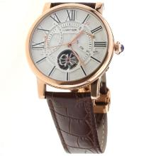 Cartier Calibre de Cartier Tourbillon Automatic Rose Gold Case with White Dial-Leather Strap-1