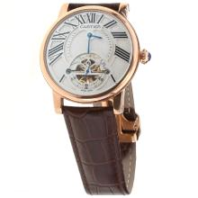 Cartier Calibre de Cartier Tourbillon Automatic Rose Gold Case with White Dial-Leather Strap