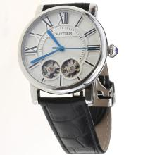 Cartier Calibre de Cartier Dual Tourbillon Automatic with White Dial-Leather Strap