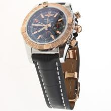 Breitling Chronomat Evolution Chronograph Swiss Valjoux 7750 Movement Two Tone Case with Black Dial-Leather Strap
