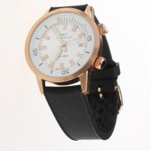 IWC Aquatimer Swiss ETA 2836 Movement Rose Gold Case with White Dial-Rubber Strap
