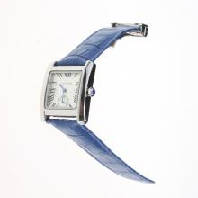 Cartier Tank White Dial with Blue Leather Strap-Lady Size
