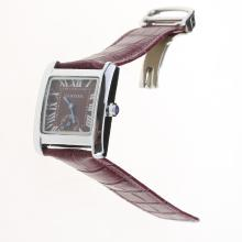 Cartier Tank Purple Dial with Purple Leather Strap-Lady Size