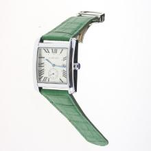 Cartier Tank White Dial with Green Leather Strap