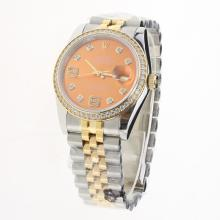 Rolex Datejust Swiss ETA 2836 Movement Two Tone Diamond Bezel and Markers with Champagne Dial-Same Chassis as Swiss Version