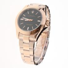 Rolex Oyster Perpetual Automatic Full Rose Gold Stick Markers with Black Dial