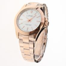 Rolex Oyster Perpetual Automatic Full Rose Gold Stick Markers with Silver Dial
