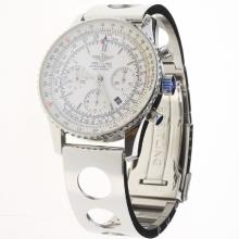 Breitling Navitimer Chronograph Swiss Valjoux 7750 Movement Stick Markers with White Dial S/S-3
