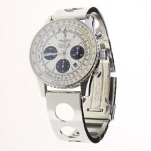 Breitling Navitimer Chronograph Swiss Valjoux 7750 Movement Stick Markers with White Dial S/S-1