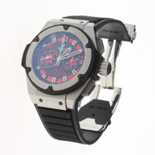 Hublot King Power Chronograph Swiss Valjoux 7750 Movement with Red Dial-Rubber Strap
