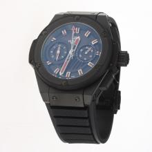 Hublot King Power Chronograph Swiss Valjoux 7750 Movement PVD Case Red Markers with Black Dial-Rubber Strap