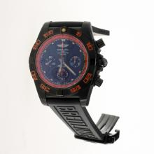 Breitling Chronomat Evolution Chronograph Swiss Valjoux 7750 Movement PVD Case with Black Dial-Rubber Strap