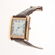 Cartier Tank Rose Gold Case with White Dial-Leather Strap-1