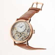 Breguet Tradition Tourbillon Automatic Rose Gold Case with White Dial-Leather Strap