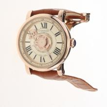Cartier Rotonde de Cartier Automatic Rose Gold Case with Champagne Dial-Leather Strap