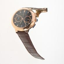 Cartier Rotonde de Cartier Working Chronograph Rose Gold Case with Black Carbon Fibre Style Dial-Brown Leather Strap