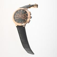 Cartier Rotonde de Cartier Working Chronograph Rose Gold Case with Skeleton Dial-Black Leather Strap