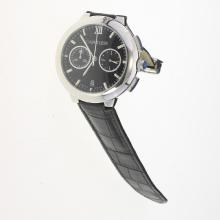 Cartier Rotonde de Cartier Working Chronograph with Black Dial-Black Leather Strap