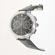 Cartier Rotonde de Cartier Working Chronograph with Skeleton Dial-Black Leather Strap