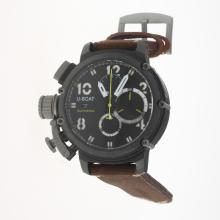 U-Boat Italo Fontana Working Chronograph PVD Case with Black Dial-Leather Strap