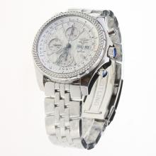 Breitling for Bentley Chronograph Swiss Valjoux 7750 Movement with White Dial S/S