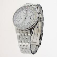 Breitling Navitimer Chronograph Swiss Valjoux 7750 Movement Stick Markers with White Dial S/S
